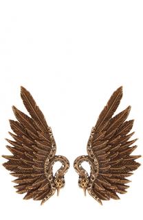 Серьги-клипсы в виде птиц с отделкой из страз Lanvin