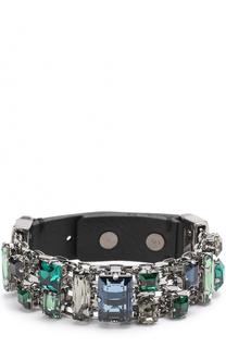 Кожаный браслет с отделкой из кристаллов Lanvin