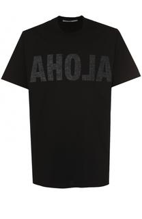 Удлиненная хлопковая футболка с принтом Givenchy