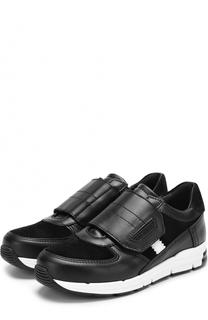Кожаные кроссовки с замшевыми вставками и застежками велькро Dolce & Gabbana