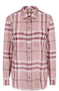 Хлопковая блуза в контрастную клетку Burberry