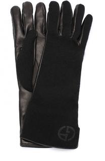 Кожаные перчатки с отделкой из кашемира Giorgio Armani