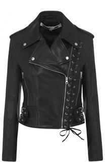 Кожаная куртка с косой молнией MCQ