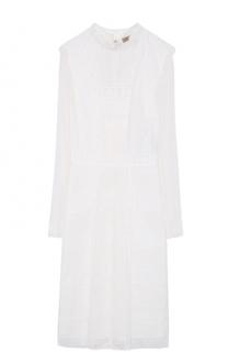Хлопковое платье-миди с кружевной отделкой Burberry