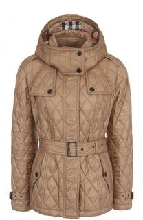 Стеганая куртка с поясом и капюшоном Burberry