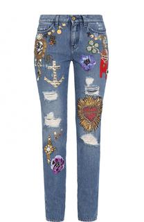 Джинсы прямого кроя с декоративной отделкой Dolce & Gabbana