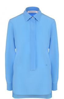 Шелковая блуза прямого кроя с удлиненной спинкой Victoria Beckham