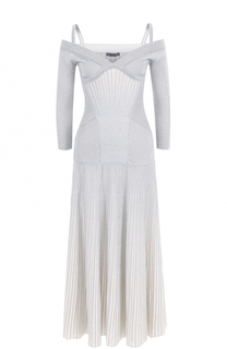 Вязаное платье-миди с открытыми плечами Alexander McQueen