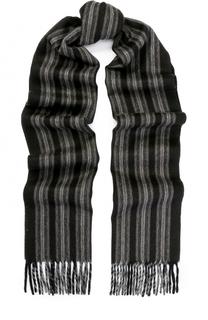 Кашемировый шарф в полоску с бахромой Lanvin