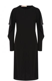 Приталенное платье-миди с разрезами на рукавах Marni