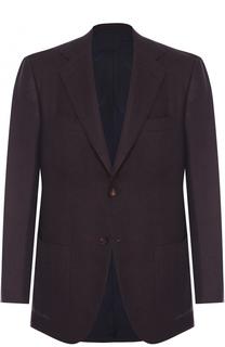 Однобортный пиджак из смеси кашемира и шелка Kiton