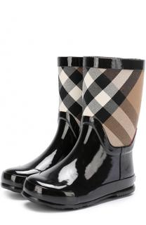 Резиновые сапоги с текстильной вставкой в комплекте с губкой для обуви Burberry