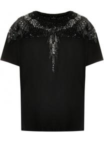 Хлопковая футболка с вышивкой пайетками Marcelo Burlon