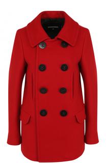 Двубортное шерстяное пальто прямого кроя Dsquared2
