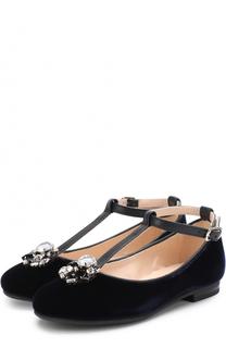 Текстильные туфли с кожаной отделкой и кристаллами Il Gufo