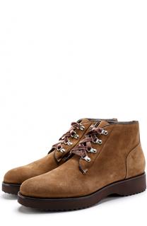 Замшевые ботинки на шнуровке на толстой подошве Doucals