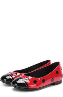 Лаковые балетки с контрастным декором Dolce & Gabbana