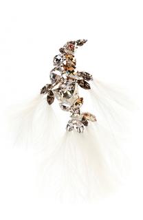 Брошь в виде птицы с отделкой из кристаллов и перьев Lanvin