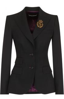 Однобортный шерстяной жакет с вышивкой Dolce & Gabbana