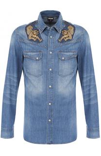 Джинсовая рубашка с нашивками Just Cavalli