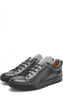 Кожаные кеды на шнуровке с контрастной отделкой Lanvin