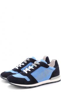 Текстильные кроссовки с отделкой из замши Giorgio Armani