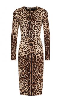 Шелковое платье-миди с принтом Dolce & Gabbana
