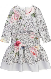 Платье-миди с принтом и поясом из велюра Monnalisa