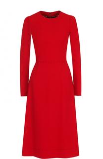 Приталенное платье-миди с контрастной прострочкой Dolce & Gabbana