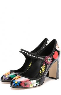 Кожаные туфли Vally с цветочным принтом Dolce & Gabbana