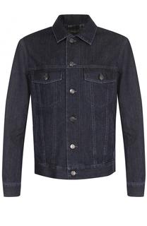 Джинсовая куртка на пуговицах с контрастной прострочкой Brioni