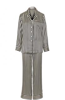 Шелковая пижама в контрастную полоску Olivia Von Halle