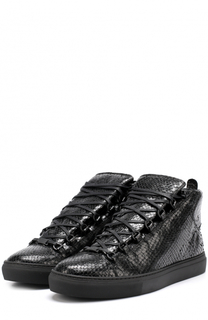 Высокие кожаные кеды на шнуровке Balenciaga