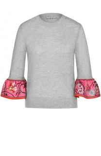 Шерстяной пуловер с отделкой из шелка Emilio Pucci