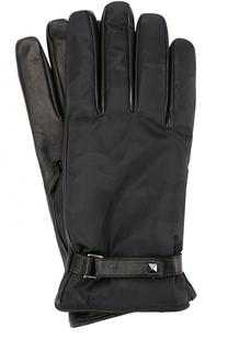 Кожаные перчатки с текстильной отделкой и камуфляжным принтом Valentino