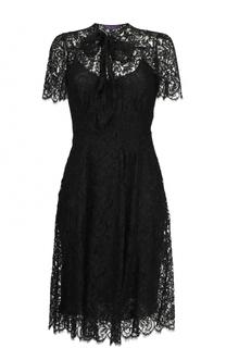 Шелковое платье-миди с кружевной отделкой Ralph Lauren
