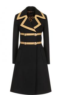 Двубортное шерстяное пальто с декоративной отделкой Dolce & Gabbana
