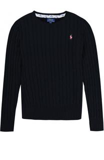 Хлопковый пуловер фактурной вязки с логотипом бренда Polo Ralph Lauren