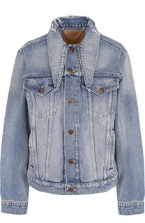 Джинсовая куртка с ассиметричным воротником Balenciaga