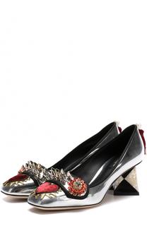 Туфли Jackie из металлизированной кожи с декором Dolce & Gabbana