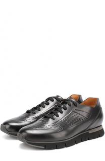 Кожаные кроссовки на шнуровке с тиснением Santoni