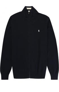 Хлопковый кардиган на молнии с логотипом бренда Polo Ralph Lauren