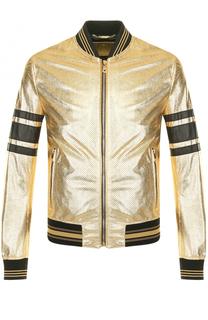 Кожаный бомбер на молнии с перфорацией Dolce & Gabbana