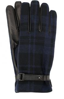 Кожаные перчатки с шерстяной отделкой в клетку Valentino