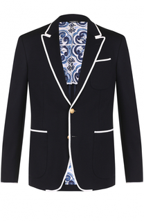 Однобортный пиджак из вискозы с контрастной отделкой Dolce & Gabbana