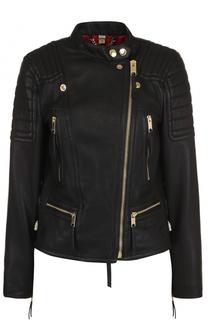 Кожаная куртка с косой молнией Burberry