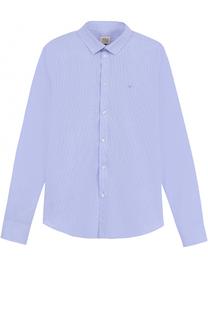 Хлопковая рубашка с логотипом бренда Giorgio Armani