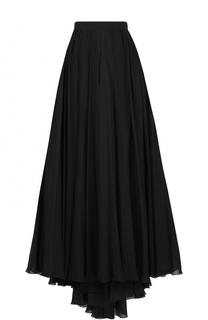 Шелковая юбка-макси с высоким разрезом и подолом Elie Saab