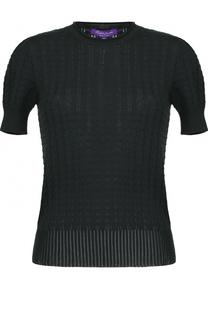 Шелковый топ фактурной вязки с коротким рукавом Ralph Lauren