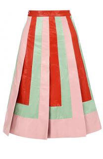 Кожаная юбка с контрастными вставками Valentino
